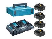 Комплект аккумулятор 18.0 В BL1850B 4 шт. + зарядное устройство DC18RD в кейсе (Набор BL1850B 18V 5,0 Ah 4 шт. + DC18RD)