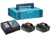 Комплект аккумулятор 18.0 В BL1850B 2 шт. + зарядное устройство DC18RC в кейсе (Набор BL1850B 18V 5,0 Ah 2 шт. + DC18RC)