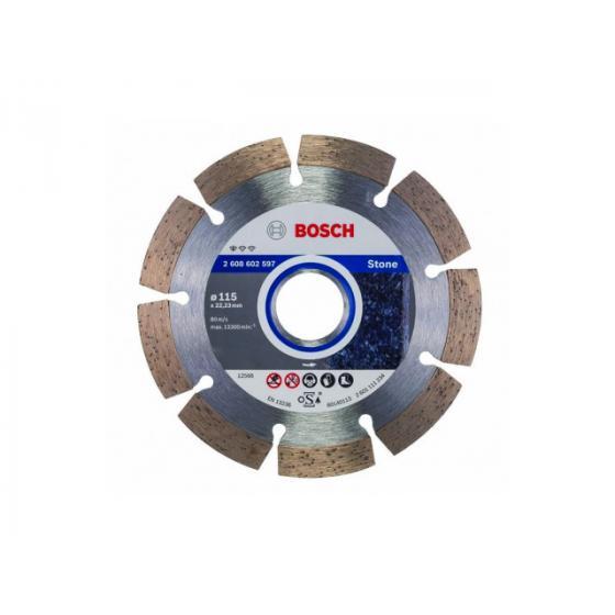 Алмазный круг 115х22 мм по камню сегмент. STANDARD FOR STONE BOSCH (сухая резка) [2608602597]