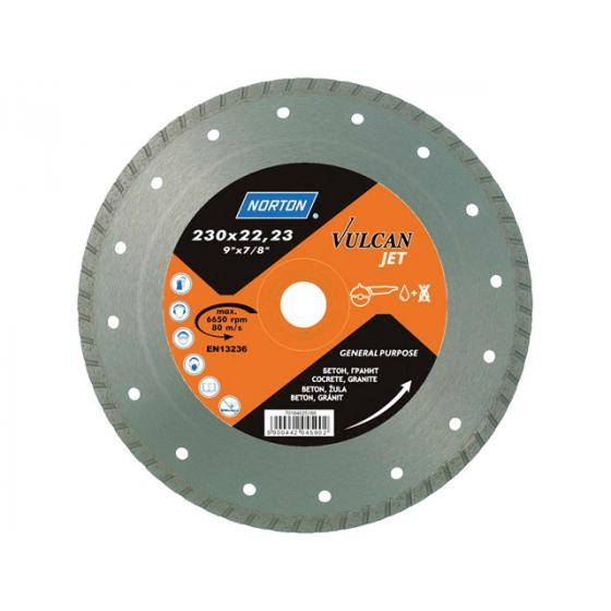 Алмазный круг 180х22.2 мм бетон/трот.плитка Turbo VULCAN JET NORTON [70184625187]