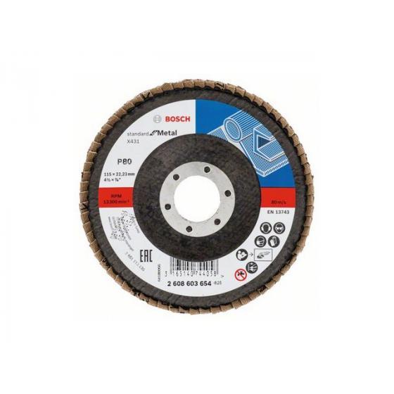 Круг лепестковый 115х22.2 мм K80 конический STANDARD FOR METAL BOSCH [2608603654]