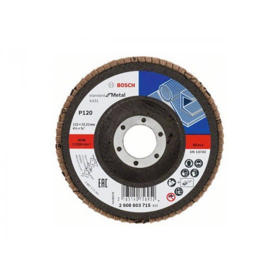 Круг лепестковый 115х22.2 мм K120 плоский STANDARD FOR METAL BOSCH