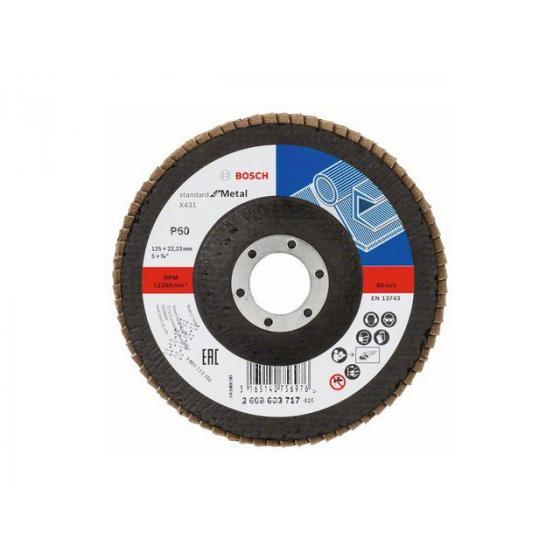 Круг лепестковый 125х22.2 мм K60 плоский STANDARD FOR METAL BOSCH