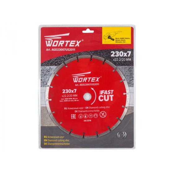 Алмазный круг 230х22 мм универс. сегмент. WORTEX (сухая резка) [AGD23007US2011]