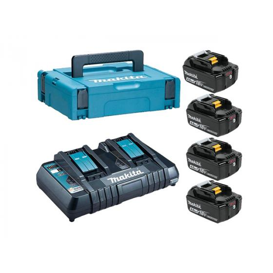 Комплект аккумулятор 18.0 В BL1840B 4 шт. + зарядное устройство DC18RC в кейсе (Набор BL1840B 18V 4,0 Ah 4 шт. + DC18RD)