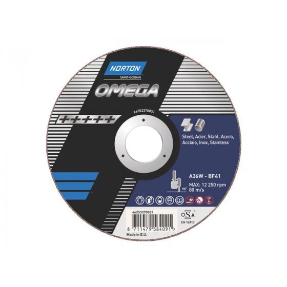 Круг отрезной 125х2.5x22.2 мм для нерж. стали, металла OMEGA NORTON [66253370032]
